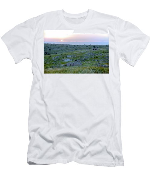 Sunset Over A 2000 Years Old Village Men's T-Shirt (Slim Fit) by Dubi Roman
