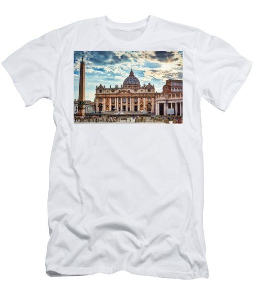 Sunset Over The Papal Basilica Of Saint Peter Men's T-Shirt (Athletic Fit)