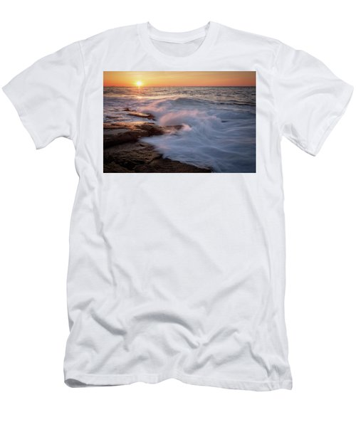 Men's T-Shirt (Athletic Fit) featuring the photograph Sunset Waves Rockport Ma. by Michael Hubley