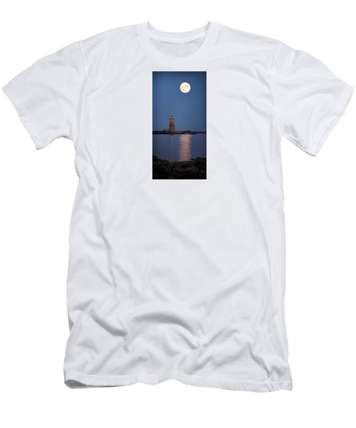 Super Moon Over Whaleback Lighthouse Men's T-Shirt (Slim Fit) by Betty Denise
