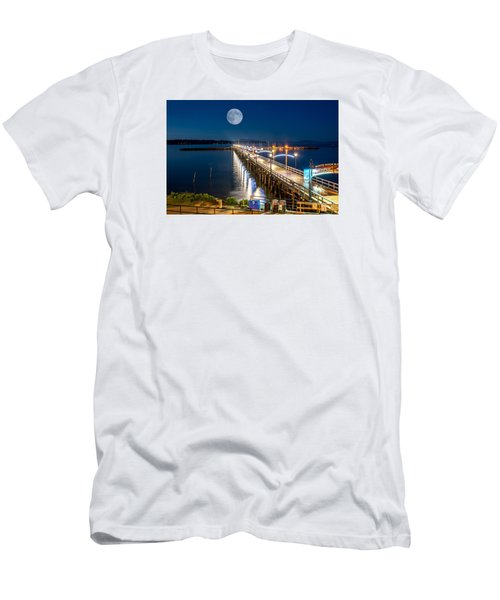 Super Moon Over White Rock Men's T-Shirt (Slim Fit) by Sabine Edrissi