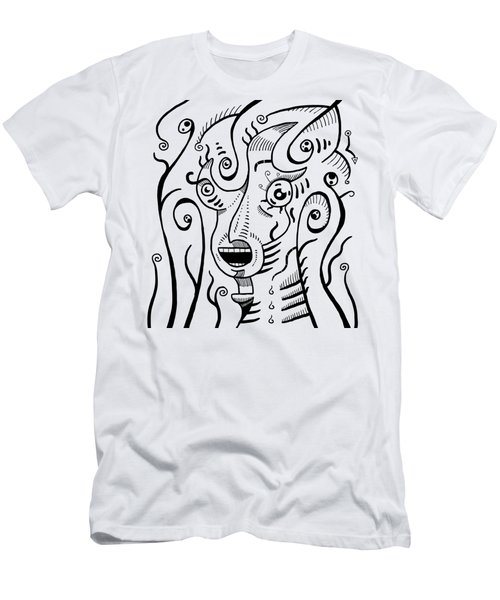 Surrealism Scream Black And White Men's T-Shirt (Athletic Fit)