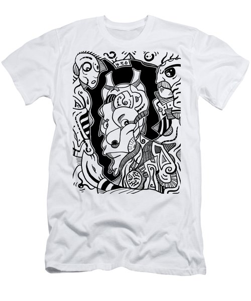 Surrealism Pagan Black And White Men's T-Shirt (Athletic Fit)