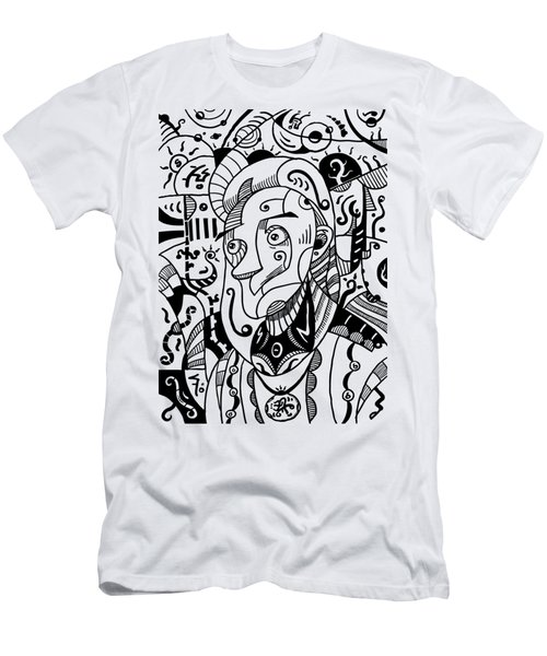 Surrealism Philosopher Black And White Men's T-Shirt (Athletic Fit)