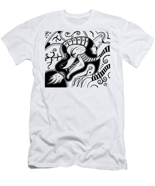 Surrealism Wolf Black And White Men's T-Shirt (Athletic Fit)