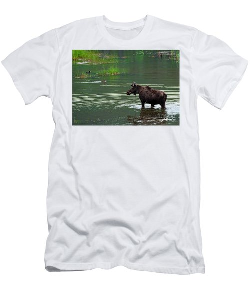 young Moose in spring pond Men's T-Shirt (Athletic Fit)
