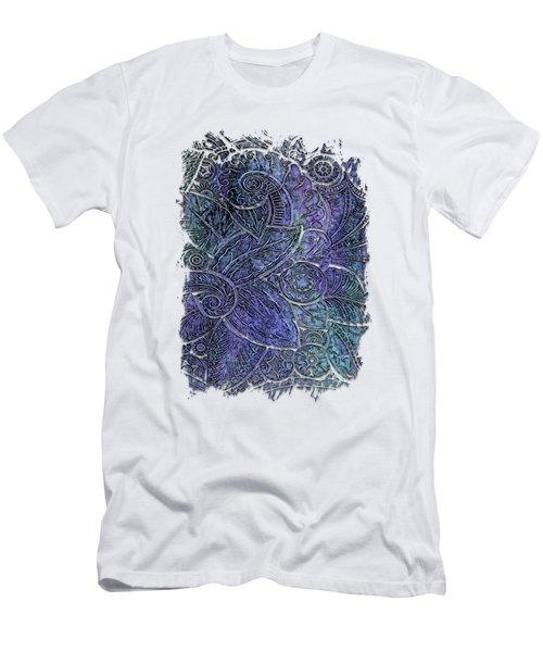 Swan Dance Berry Blues 3 Dimensional Men's T-Shirt (Slim Fit) by Di Designs