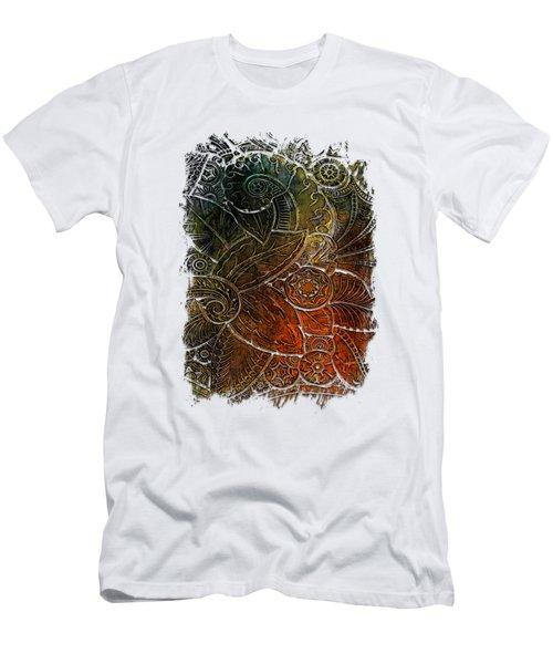 Swan Dance Earthy Rainbow 3 Dimensional Men's T-Shirt (Slim Fit) by Di Designs