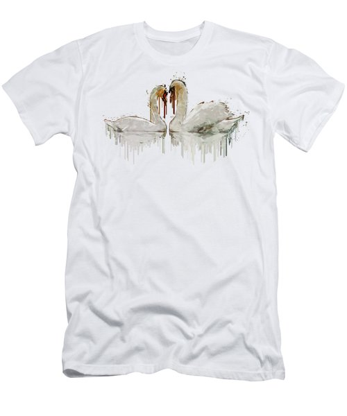 Swan Love Acrylic Painting Men's T-Shirt (Athletic Fit)