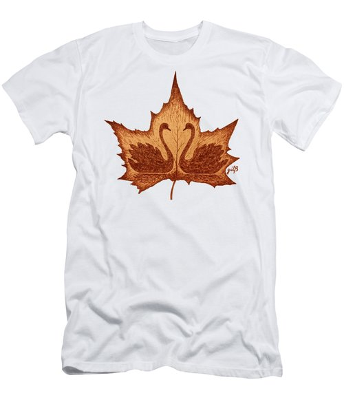 Swans Love On Maple Leaf Original Coffee Painting Men's T-Shirt (Athletic Fit)