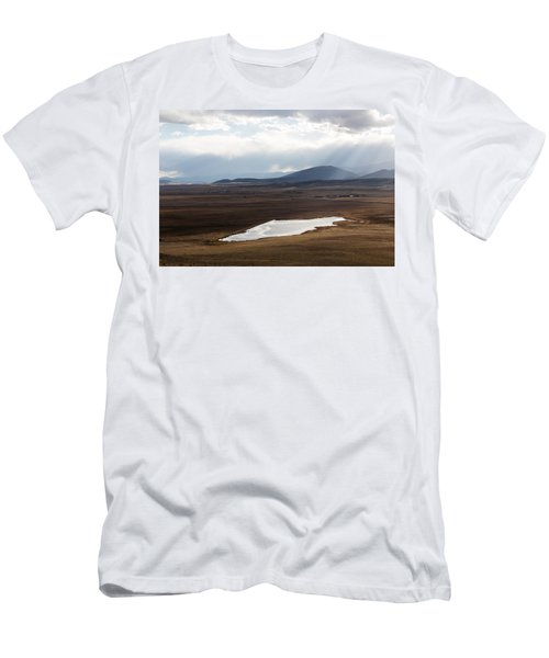 Men's T-Shirt (Slim Fit) featuring the photograph Sweeping Plain And A Small Lake Between Mountain Foothills Near Fairplay In Park County by Carol M Highsmith