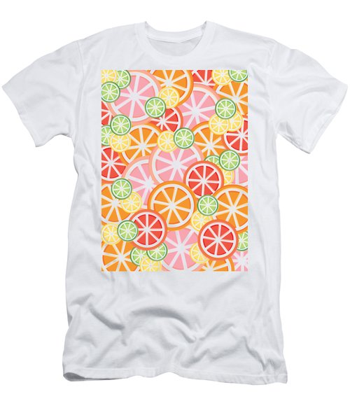Sweet And Sour Citrus Print Men's T-Shirt (Slim Fit) by Lauren Amelia Hughes