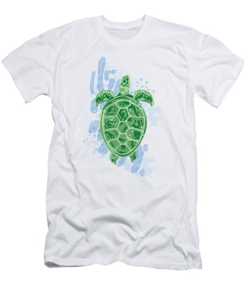 Swimming Turtle Men's T-Shirt (Athletic Fit)