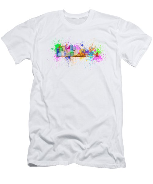 Sydney Harbor Skyline Paint Splatter Illustration Men's T-Shirt (Athletic Fit)
