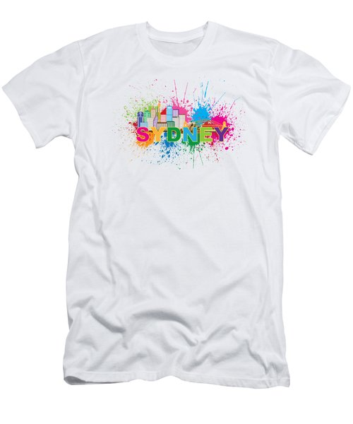 Sydney Harbor Skyline Paint Splatter Text Illustration Men's T-Shirt (Athletic Fit)