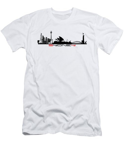 Sydney Skyline Black Men's T-Shirt (Slim Fit) by Justyna JBJart