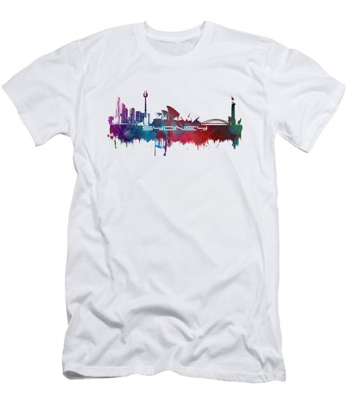 Sydney Skyline City Blue Men's T-Shirt (Slim Fit) by Justyna JBJart