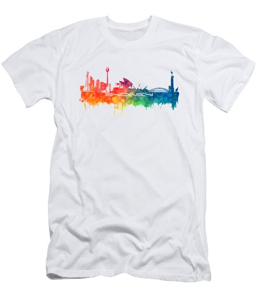 Sydney Skyline City Color Men's T-Shirt (Slim Fit) by Justyna JBJart