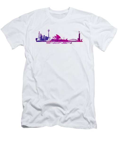 Sydney Skyline Purple Men's T-Shirt (Slim Fit) by Justyna JBJart