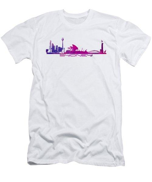 Sydney Skyline Purple Men's T-Shirt (Athletic Fit)