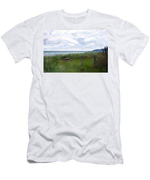 Tables By The Ocean Men's T-Shirt (Slim Fit) by Debra Baldwin