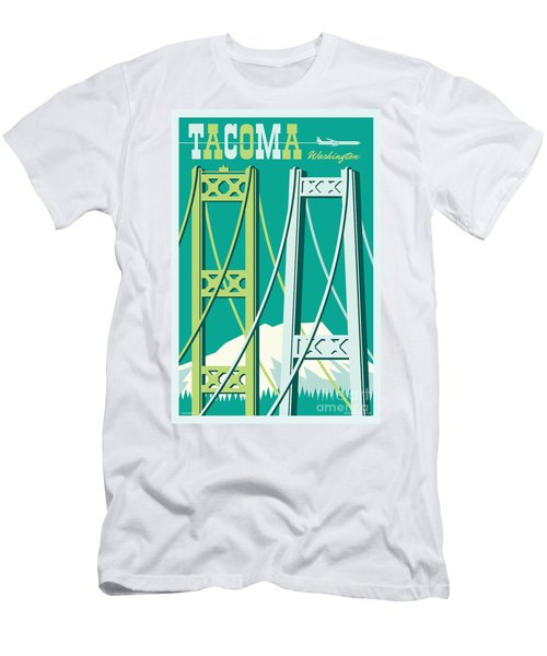 Tacoma Poster - Vintage Style Travel  Men's T-Shirt (Athletic Fit)