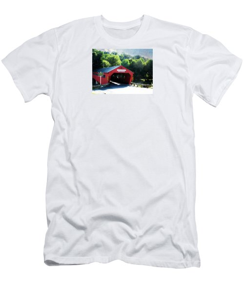 Men's T-Shirt (Slim Fit) featuring the photograph Taftsville Covered Bridge by Robin Regan
