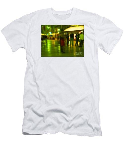 Men's T-Shirt (Slim Fit) featuring the mixed media Tango Dance In Rain by Haleh Mahbod