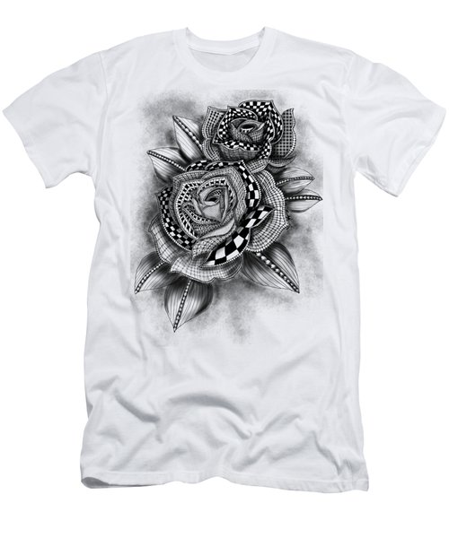 Tattoo Rose Greyscale Men's T-Shirt (Athletic Fit)