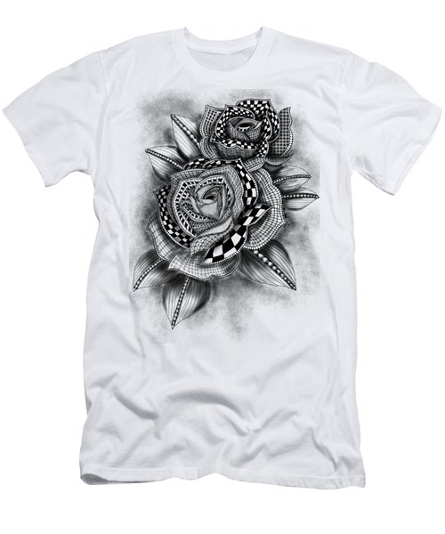 Men's T-Shirt (Athletic Fit) featuring the drawing Tattoo Rose Greyscale by Becky Herrera