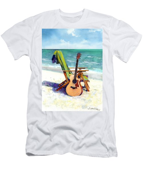 Men's T-Shirt (Athletic Fit) featuring the painting Taylor At The Beach by Andrew King