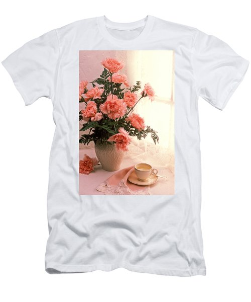 Tea Cup With Pink Carnations Men's T-Shirt (Athletic Fit)
