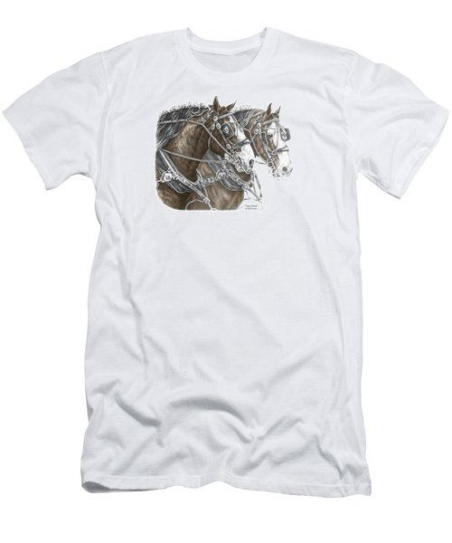 Men's T-Shirt (Slim Fit) featuring the drawing Team Work - Clydesdale Draft Horse Print Color Tinted by Kelli Swan