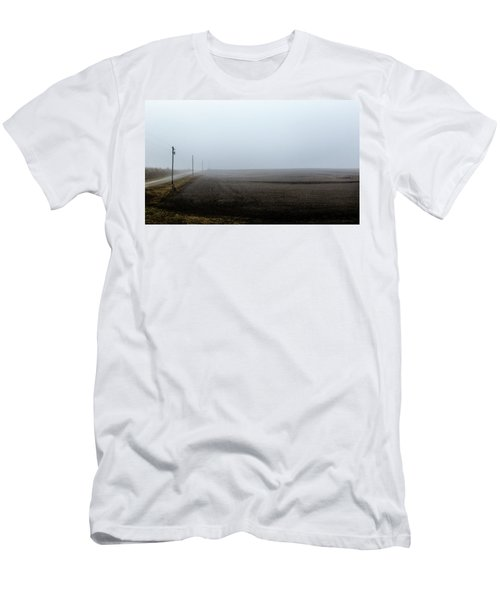 Telephone Poles Along A Foggy Field Men's T-Shirt (Athletic Fit)