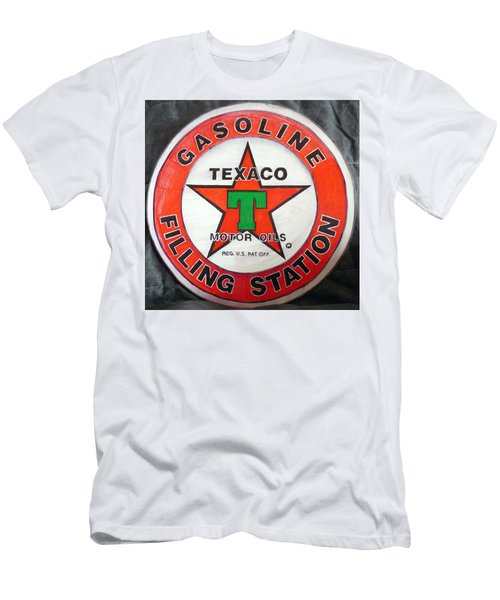 Men's T-Shirt (Athletic Fit) featuring the painting Texaco Sign by Richard Le Page