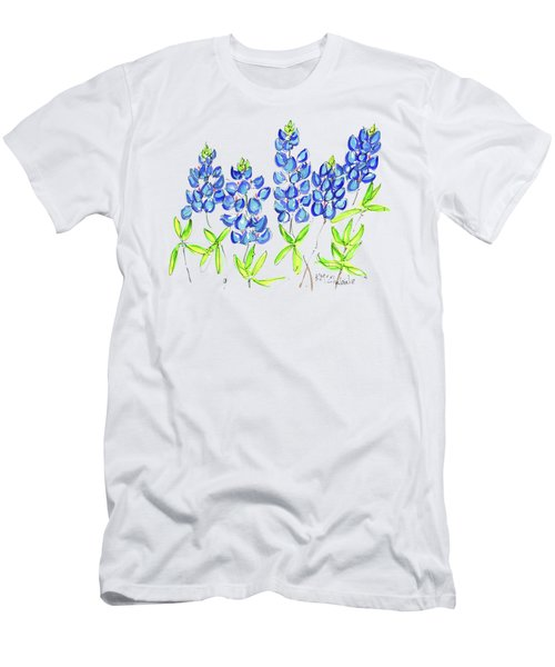 Texas Bluebonnets Watercolor Painting By Kmcelwaine Men's T-Shirt (Athletic Fit)