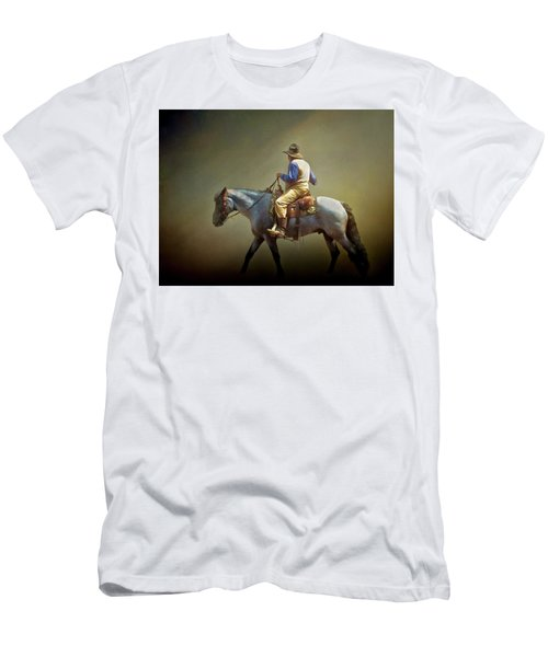 Men's T-Shirt (Slim Fit) featuring the photograph Texas Cowboy And His Horse by David and Carol Kelly