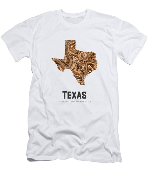 Texas Map Art Abstract In Brown Men's T-Shirt (Athletic Fit)