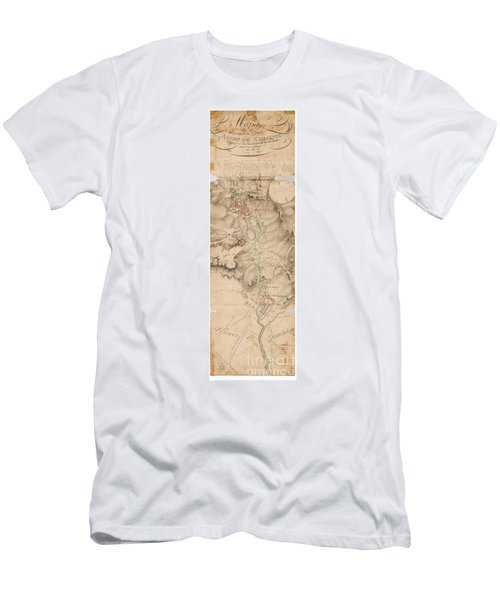 Men's T-Shirt (Athletic Fit) featuring the drawing Texas Revolution Santa Anna 1835 Map For The Battle Of San Jacinto With Border by Peter Gumaer Ogden