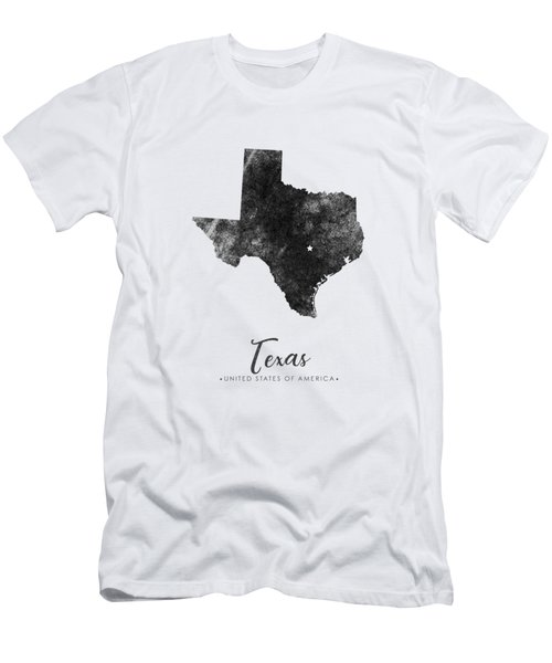 Texas State Map Art - Grunge Silhouette Men's T-Shirt (Athletic Fit)
