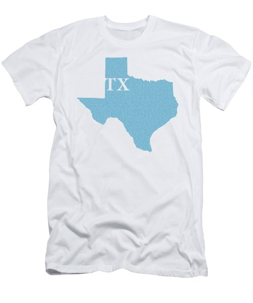 Texas State Map With Text Of Constitution Men's T-Shirt (Athletic Fit)