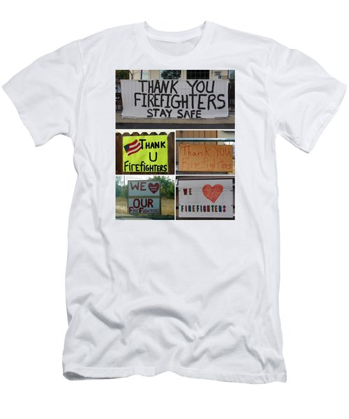 Thank You Firefighters Collage Men's T-Shirt (Slim Fit) by Patricia Strand