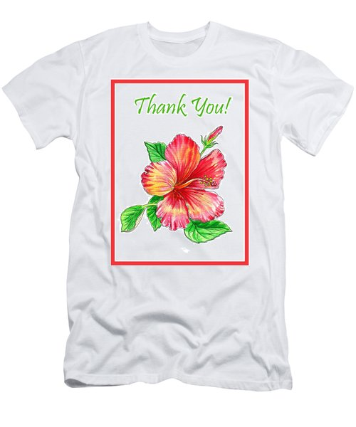 Thank You Hibiscus  Men's T-Shirt (Athletic Fit)