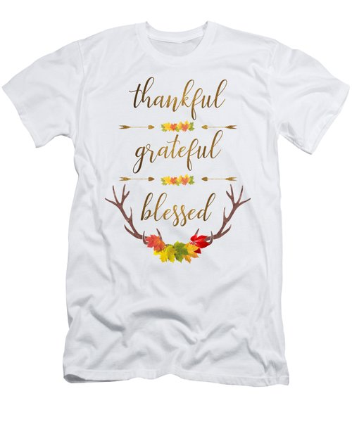 Men's T-Shirt (Athletic Fit) featuring the digital art Thankful Grateful Blessed Fall Leaves Antlers by Georgeta Blanaru