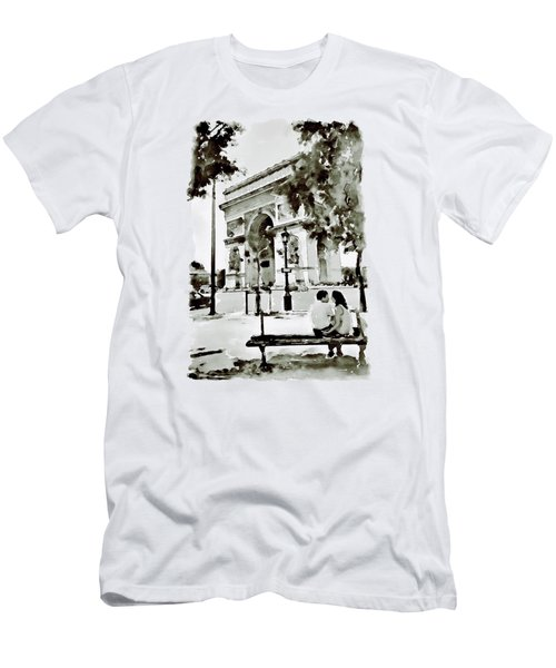 The Arc De Triomphe Paris Black And White Men's T-Shirt (Slim Fit) by Marian Voicu