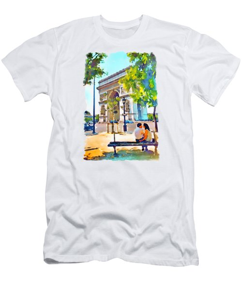 The Arc De Triomphe Paris Men's T-Shirt (Slim Fit) by Marian Voicu