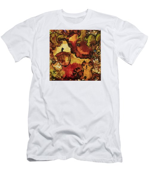 Men's T-Shirt (Slim Fit) featuring the painting The Cat And The Acorn by Suzanne Canner