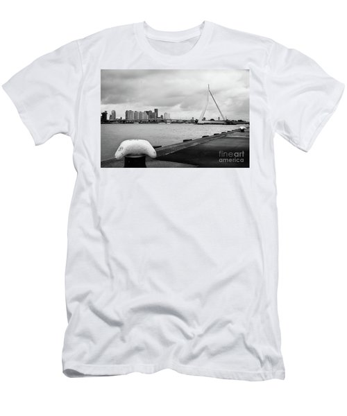 Men's T-Shirt (Slim Fit) featuring the photograph The Erasmus Bridge In Rotterdam Bw by RicardMN Photography