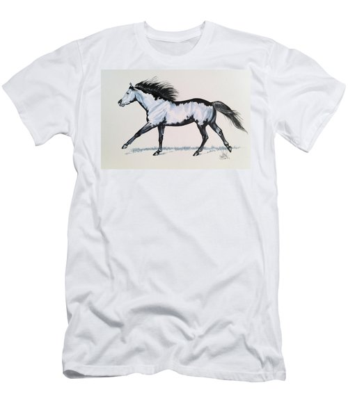 The Framed American Paint Horse Men's T-Shirt (Slim Fit) by Cheryl Poland