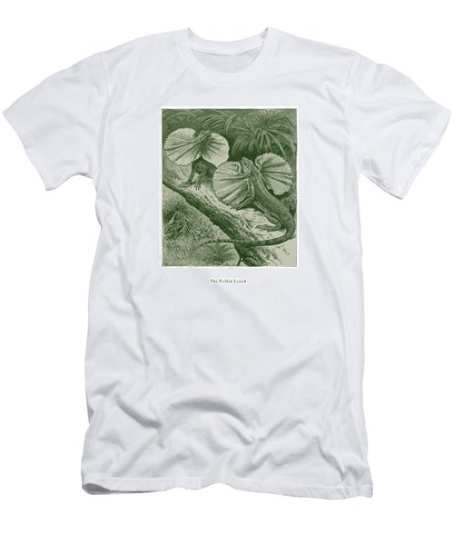 Men's T-Shirt (Slim Fit) featuring the drawing The Frilled Lizard by David Davies